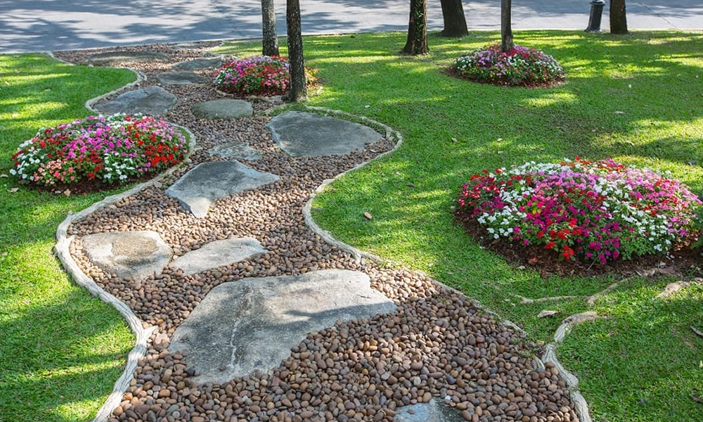 Create a clear path to your front door for extra curb appeal.